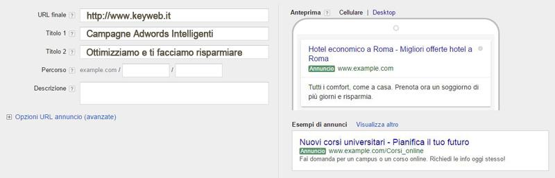 Creare annuncio Adwords Sardegna